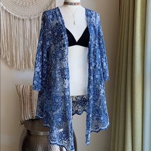 Beautiful blue and white  lace kimono cover up